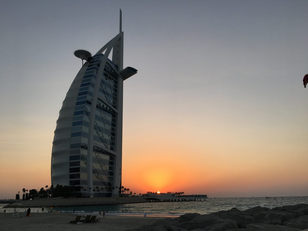 Sunset at the beach Burj Al Arab