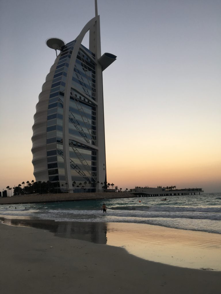 Jumeirah Beach Hotel beach at sunset