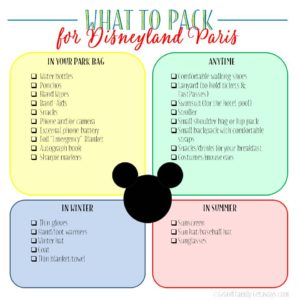 Disneyland Paris packing list tips Disneyland Paris Planning